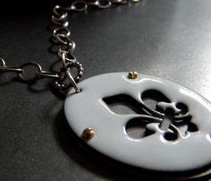 Enamel fleur de lis pendant by Kiki Hutson