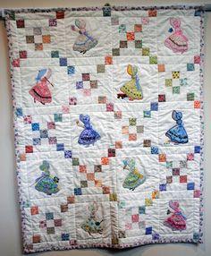 Baby quilt, applique, Sunbonnet Sue