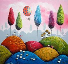 I See Ewe House Doodle, Country Scenes, Image House, House Painting, Art Images, Art For Kids, Balloons, Landscapes, Artsy