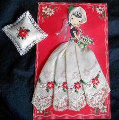 Red Embroidered Lady Chrismas Handkerchief Poinsettia Treasure Masters Keepsake Hankie Switzerland Hanky Swiss Paper Doll Card Sachet