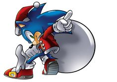 Sonic the Hedgehog... Dressed Christmas-style.