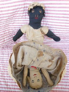Antique Topsy Turvy Cloth Doll~Black Doll/White Doll...Handmade~Embroidery Face