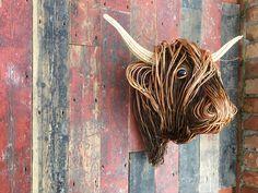 Half Scale Highland Trophy Head Animal Sculptures, Wall Sculptures, Twig Art, Traditional Baskets, Weaving Techniques, Basket Weaving, Moose Art, Mini, Animals