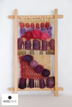 Pastel pink - Hand woven wall hanging // weaving // telar decorativo made by… Inkle Weaving, Weaving Art, Tapestry Weaving, Hand Weaving, Embroidery Floss Crafts, Finger Weaving, Weaving Projects, Woven Wall Hanging, Weaving Techniques
