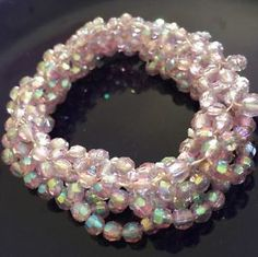 Incredible Pink Irididescent Twisted Beads Stretch Bracelet | eBay