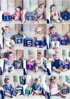Let a number cube say it all like this Monthly Birthday Photo Series from Hello My Love. Monthly Baby Photo Ideas - Track Your Baby's Age in Photos plus FREE Monthly Printable Milestone Stickers and Signs on Frugal Coupon Living.
