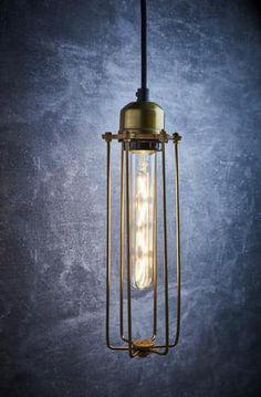 """Vintage Cylinder Brass Cage Pendant Light 3.5"""""""