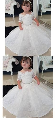 7 FG183 White Wedding Flower Girl Petals Tulle Dress Pageant Party Size 18Mons