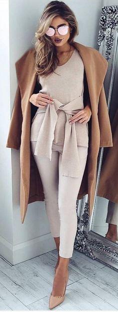 camel coat / khaki jumpsuit /nude high heels