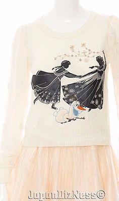 New Secret Honey Japan Disney Frozen Anna Elsa Olaf Skating Beige Sweater #SecretHoney
