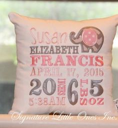 Elephant Birth, Little Elephant, Elephant Nursery, Birth Announcement Girl, Birth Announcements, Baby Embroidery, Embroidery Ideas, Machine Embroidery Projects, Baby Sewing Projects