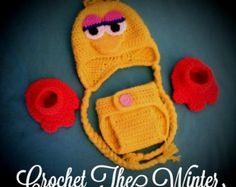 Big Bird Photo Prop Set  Diaper Cover Bird Feet Earflap Hat Sesame Street Inspired Ser