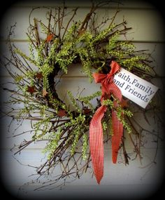 "Rosehip andHerb with pip berries and rusty stars fill this wispy wreath. 24"" and comes with a prim tag that reads Faith, Family , and Friends, but can be personalized for you.........$29.99  http://www.primitivehomedecorandmore.com/pip-berry-wreaths.html"