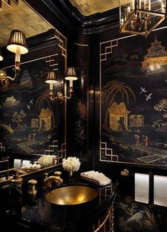 Home Design and Decor , Asian Style Home Decor Ideas : Powder Room With Chinese Asian Style Home Decor With Gold Undermount Sink And Faucet And Mirror Wuth Sconces And Black Walls With Art Architectural Digest, Estilo Hollywood Regency, Black Interior Design, Modern Interior, Interior Office, Luxury Interior, Apartment Projects, York Apartment, Chinoiserie Chic