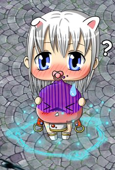 My Ragnarok Online character Polaris as chibi and her Poring Ray. <3 [02-07-2011]