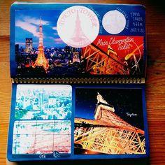 hirocccchi旅ノート 東京タワー🗼 #旅#旅ノート#トラベラーズノート#ほぼ日#手帳#ノート術#モレスキン #日記#東京タワー#記念スタンプ#風景印#コラージュ#ラクダノート2017/09/27 05:45:36