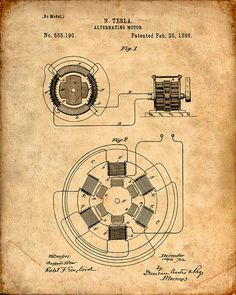 This is a Patent Print for a Tesla Alternating Motor. It was invented by Nikola Tesla and it was issued on February 1896 by the United States Patent and Trademark Office. Mechanical Engineering, Electrical Engineering, Engineering Technology, Tesla 3 6 9, Tesla Power, Nikola Tesla Patents, Nicola Tesla, Pen & Paper, Arc Reactor