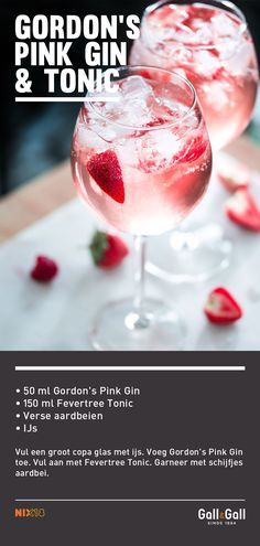 Gordon's Pink Gin & Tonic, Fill a large copa glass with ice. Supplement with Fevertree Tonic. Garnish with strawberry slices. Summer Drinks, Fun Drinks, Alcoholic Drinks, Pink Gin Cocktails, Cocktail Drinks, Blue Martini Recipe, Strawberry Sangria, Thai Sweet Chili Sauce, Gin And Tonic