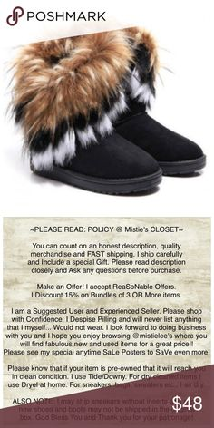 ⭐️COMING SOON⭐️ Fabulous Faux Suede Winter Boot. Sports Faux Rabbit Fur cascading on the outside of the Boot. I have other Styles listed in my closet. These are Black in Color. These boots are meant to be worn outside. They mimic a Muk Luk, Bear Paw, or an Ugg. Without the high price tag. Very Fashionable Bootie. Perfect for Fall! Price will be firm unless bundled. Thank you for browsing my closet. Please shop with confidence. Shoes Winter & Rain Boots