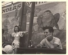 Circus performers outside bannerline at Coney Island (1940s)