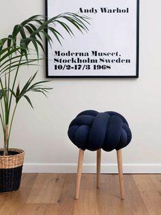 dark blue knot stool by knots studio