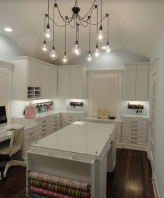 Contemporary Craft and Gift Wrapping Room with Several Work Stations, Island, Gift Wrapping Station and Custom Cabinetry.