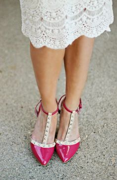 Love the lace skirt + studded heels
