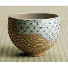 Kyoyaki ware matcha tea bowl, asabamon(hemp leaves pattern) japanese ceramist:TSUUJI Azan 京焼 抹茶茶碗 麻葉文 通次阿山作