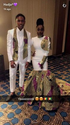 african fashion outfits looks great ! African Prom Dresses, Prom Girl Dresses, Prom Outfits, Couple Outfits, African Fashion Dresses, African Wedding Attire, African Attire, African Wear, African Dress