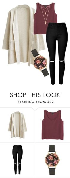 """""""School outfit"""" by selina-maria1 ❤ liked on Polyvore featuring Monki, Olivia Burton and Forever 21"""
