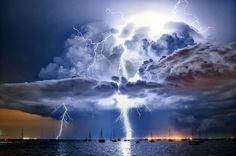 Australian Weather Calendar 2013 / December: Lightning illuminates a cumulonimbus cloud over Corio Bay, Victoria.  Picture: James Collier