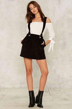 Jaime Corduroy Suspender Skirt - Clothes