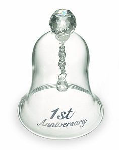 "Russ Anniversary Glass Bell, Celebrate your anniversary with a wedding bell as you ""ring"" in the new year and reminisce those gone by. H by Made of clear glass with faceted handles and working clapper, packaged in Satin-lined story gift box. Decorative Tile, Decorative Bells, 1st Anniversary, Decorative Accessories, Diy Home Decor, Image Link, Amazon, Vacation Ideas, Clear Glass"