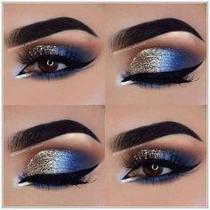Eye Makeup Tips – How To Apply Eyeliner – Makeup Design Ideas Cute Eye Makeup, Makeup Eye Looks, Gold Eye Makeup, Gorgeous Makeup, Blue Eyeshadow Looks, Awesome Makeup, Glitter Makeup, Blue Eyeshadow Makeup, Sparkle Eyeshadow