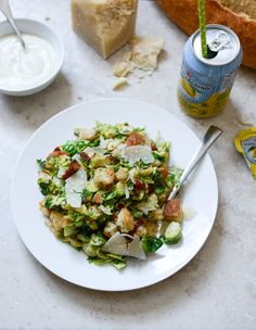 Warm Brussels Caesar with Bacon Ciabatta Croutons I howsweeteats.com