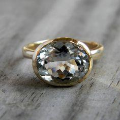 Aquamarine and 14k Yellow Gold Ring, Custom Made to Order.  onegarnetgirl