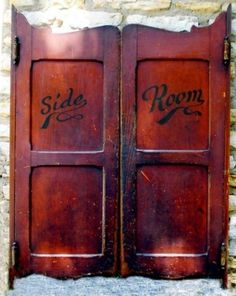 saloon doors; but only one...paint it to look like two doors