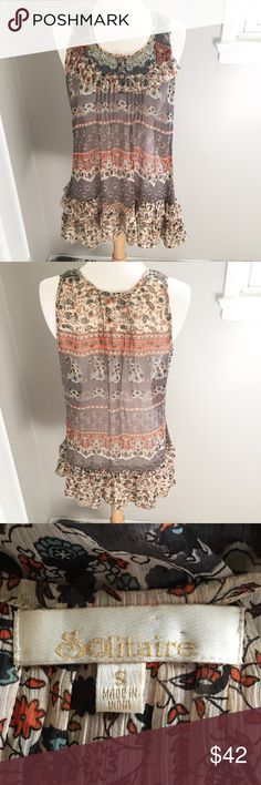 Boho Sheer Beaded Tank In Great Condition/ Feel free to ask any questions, make a reasonable offer, or add to a bundle for 15% off 2 or more items 😊 100% Polyester Tops Tank Tops