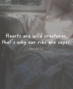 Hearts are wild creatures, that's why our ribs are cages                                                                                                                                                      More