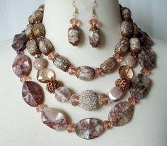 Chunky Gemstone Statement Necklace Big Bold by laiseoriginals