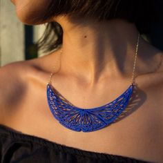 3D Printed Royal Blue Butterfly Necklace by ANNXANNXDESIGN | 3d.works