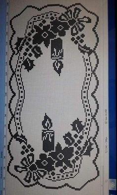 Scheme to realize the crochet filet runner Crochet Angel Pattern, Crochet Motif, Crochet Doilies, Crochet Table Runner, Crochet Tablecloth, Cross Stitch Borders, Cross Stitch Patterns, Filet Crochet Charts, Embroidery Designs