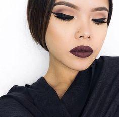 neutral eyes + vampy lips