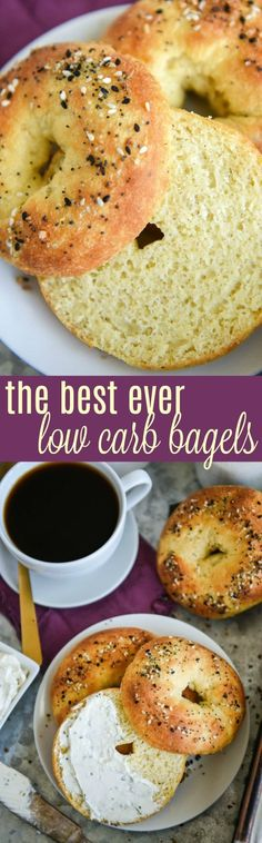 The Best Low Carb Bagels, Ever! These gluten free Everything Bagels are shockingly good and give you that amazing bread taste you crave, while sticking to your low carb diet! #keto #lowcarb #breakfast