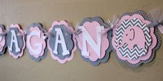 Elephant Light Baby Pink Gray Chevron Stripe Polka Dot Name or It's A Girl Banner Girl Baby Shower Party Decorations Wedding Love Valentine on Etsy, $26.00