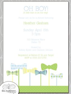 Bow Tie Invitation and Party Set - Cupcake Toppers, Label Cards and more - DIY printable. $25.00, via Etsy.