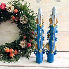 Taper Christmas Candles  Yellow Blue Christmas Candles  Taper Christmas Candles set  carved Christmas Candles  decoration  Christmas taper Christmas Candles *** Click image for more details. (This is an affiliate link)