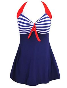 Saslax Vintage Sailor Pin Up Swimsuit One Piece Skirtini Cover Up SwimdressNavyBlueXXLUS 1012 ** You can get additional details at the image link.