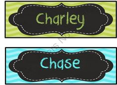 Editable aqua blue/ turquiose and lime green chevron and chalkboard deskplates/ name plates from 3rd Grade & Loving It on TeachersNotebook.com (25 pages)  - Editable aqua blue/ turquoise and lime green chevron desk plates/ nameplates with chalk board frame.