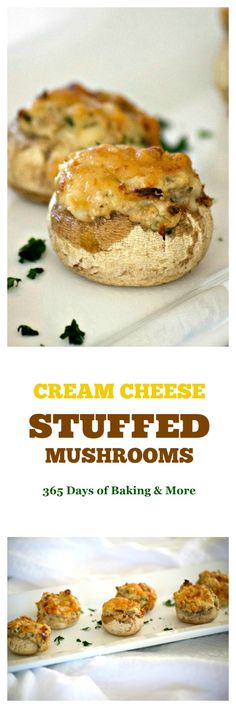 These Cream Cheese Stuffed Mushrooms are button mushrooms filled with cream cheese and a simple season mixture. They're a simple and delicious appetizer that won't last long once they're set out!